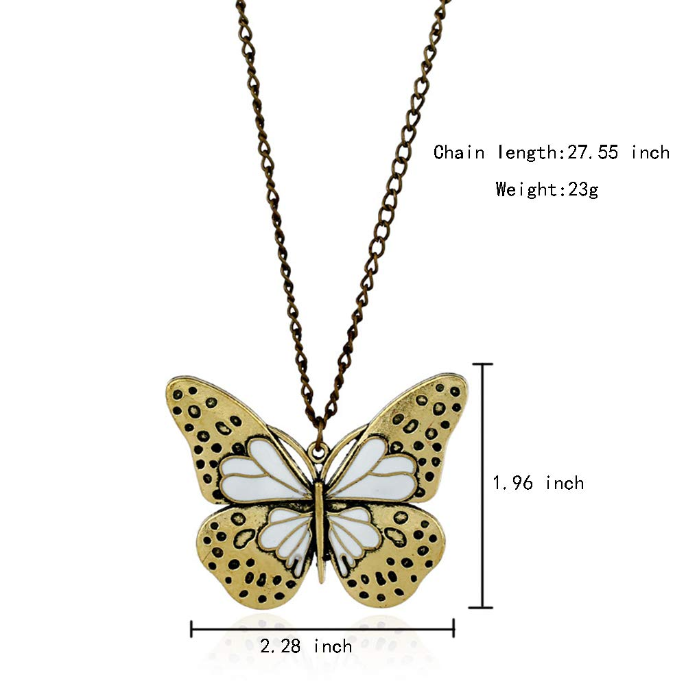 MingJun 2 Pcs Long Butterfly Pendant Necklace Vintage Sweater Chain Necklace for Women Girls