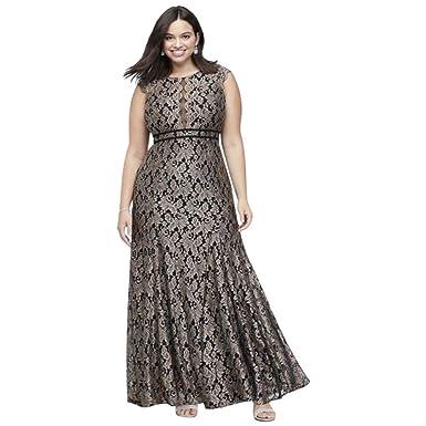 da4e5575e8c Glitter Lace Cap Sleeve Plus Size Mermaid Gown Style 21699W at ...