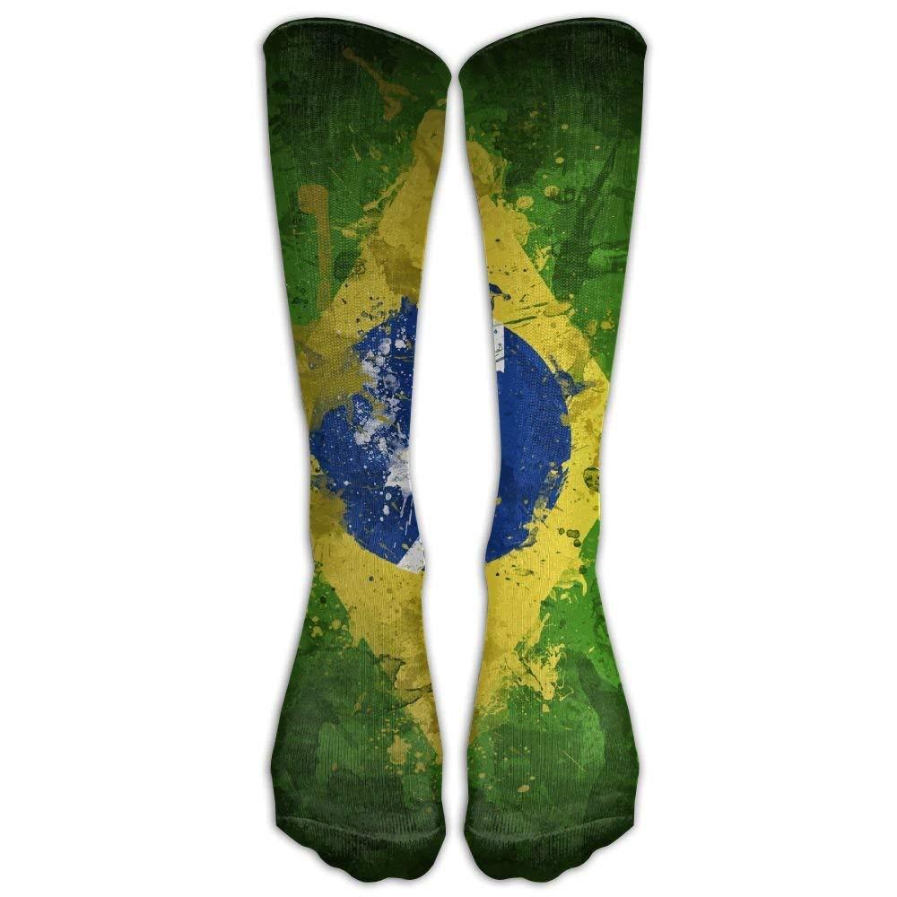 Kaixin J Men's Women's Funny Brazil Vintage Flag Long Sock Athletic Calf High Crew Soccer Socks Sports