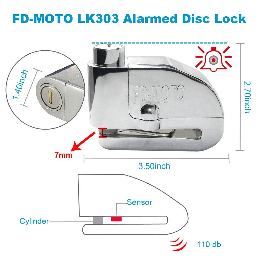 FD-MOTO - Dispositivos Antirrobo Candado de Disco con Alarma Antirrobo Acero 7mm 110DB Plata con Cable Enrollado de 1,4M para Moto Motocicleta: Amazon.es: ...