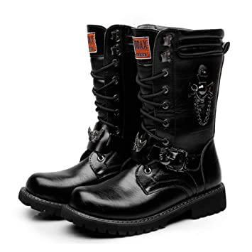 Autumn Men/'s Punk Military Buckle Lace Up Mid-calf Boots Knight Shoes Riding bes