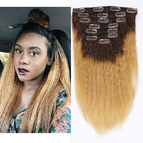 Beauty : Afro Kinky Curly Ombre Human Hair Extensions Clip in Remy #4/27 Strawberry Blonde Real 100% Brazilian 10-22 inch Balayage Hair Color Thick For Black Women (20 inch, Ombre #4/27 Kinky Straight)