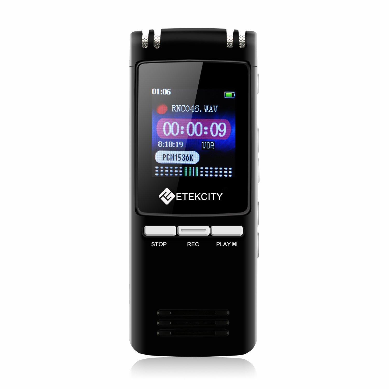 Etekcity VR BK Grabadora de Voz Digital de Acero Grabadora Recargable Portátil