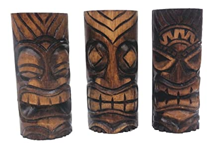 62b9e787655af8 Amazon.com: 3 Hand Carved Tiki Bar Totem Statues, 6 Inch: Home & Kitchen