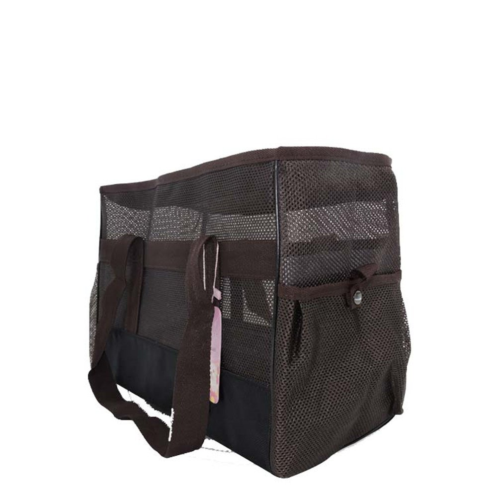FUNY Soft Mesh Sided Dog and Cat Travel Pet Carrier Tote Hand Bag (Black)