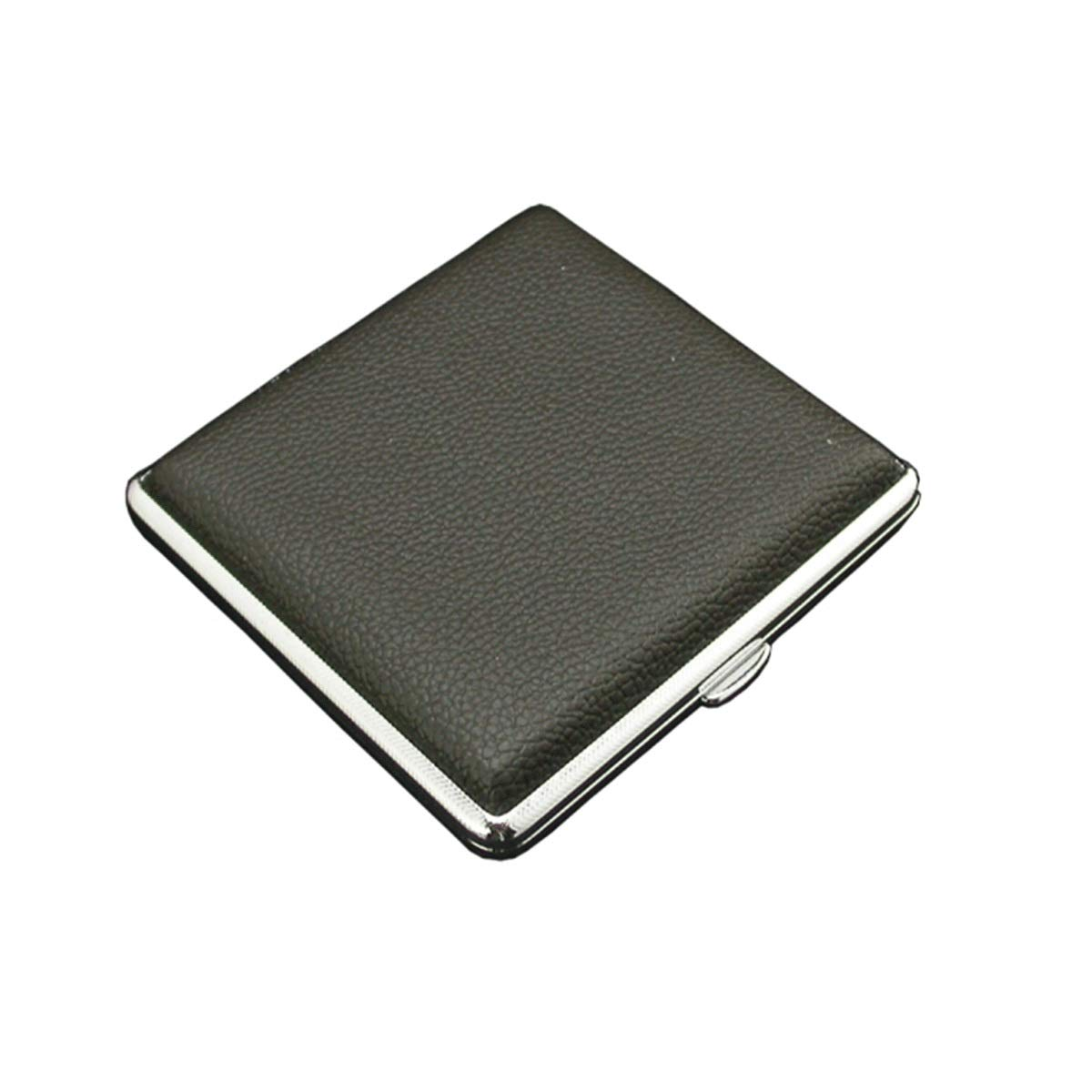 WENPINHUI Cigarette Case Moisture-Proof and Pressure-Resistant Cigarette Case Stainless Steel Black Cigarette Case Leather Cigarette Case Can Hold 20 Cigarettes (Size : 987819MM) by WENPINHUI