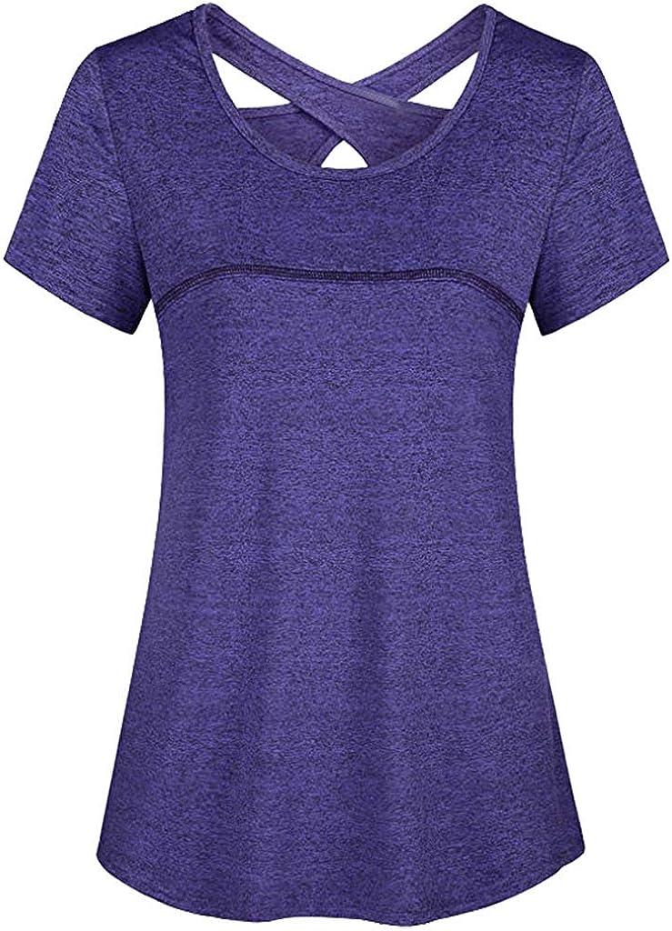 Women Plus Size Tops Athletic Yoga Shirt Short Sleeve Tere Tops Round Neck T Shirt Criss Cross Back Shirt