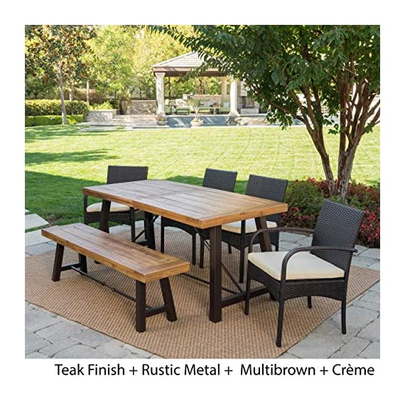 Christopher Knight Home Betsys Outdoor Acacia Wood Dining Set with Wicker Dining Chairs and Water Resistant Cushions, 6-Pcs Set, Teak Finish / Rustic Metal /  Multibrown / Crème - This clean and simple Dining set combines the functionality of wood and iron with the comfort of wicker. Complete with a Table, bench, and 4 wicker dining chairs, this set offers comfortable seating for 6 in the great outdoors. Sure to complement any patio décor, This Dining set offers you a stylish wooden design with the functionality of an iron framework and comfortable Wicker chairs,  to give you a weather resistant Set that will last your for years to come. Includes: one (1) Table, one (1) Bench, and four (4) chairs Table and bench material: Acacia wood table and bench frame material: Metal chair Material: Polyethylene wicker chair cushion material: Water resistant fabric composition: 100% polyester chair frame material: iron Table and bench finish: teak table and bench frame finish: rustic metal wicker finish: Multibrown cushion color: crème assembly required Hand crafted details Table dimensions: 33. 00 inches deep x 70. 00 inches wide x 29. 50 inches high bench Dimensions: 14. 50 inches deep x 63. 00 inches wide x 17. 75 inches high Seat width: 14. 57 inches Seat Depth: 63. 00 inches Seat Height: 17. 72 inches Chair dimensions: 23. 50 inches deep x 22. 10 inches wide x 32. 75 inches high Seat width: 18. 25 inches Seat Depth: 18. 25 inches Seat Height: 16. 50 inches Arm Height: 24. 60 inches - patio-furniture, dining-sets-patio-funiture, patio - 619xwoFsmlL. SS570  -