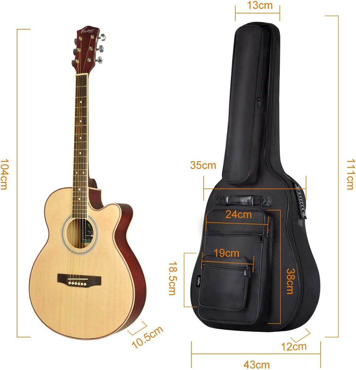 CAHAYA Funda para Guitarra Estuche Guitarra Clasica Acústica Impermeable con 6 Bolsillos Acolchada de 8 mm [Versión Multibolsillos]: Amazon.es: Instrumentos musicales