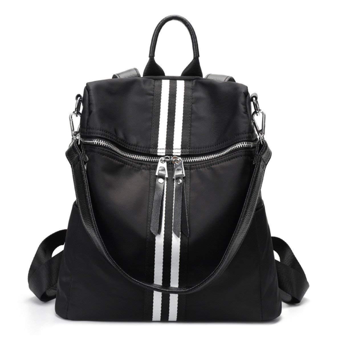HX fashion オックスフォード布ショルダーバッグ女性のシンプルな野生の光大容量デュアルユースバッグ旅行バックパックブラックのバックパック One Size ブラック B07QQQ832K