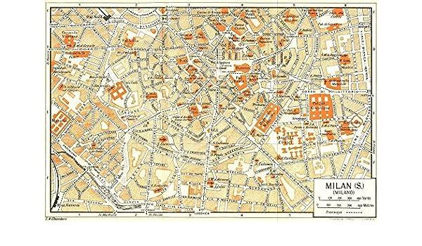 Italy Map Milan.Amazon Com Milan S Town City Plan Milano Italy 1953 Old Map
