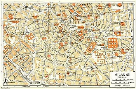 Amazon.com: MILAN, S town/city plan. Milano. Italy - 1953 - old map ...