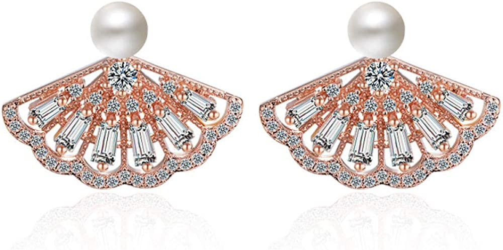 Pendientes en forma de abanico Pendientes de circonita japonesa y coreana Pendientes de perlas silvestres Kdw