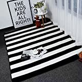 """Cheap Ukeler Modern Black and White Stripes Area Rugs Non-skid Washable Floor Accent Rugs for Living Room, 59""""x74.8"""""""