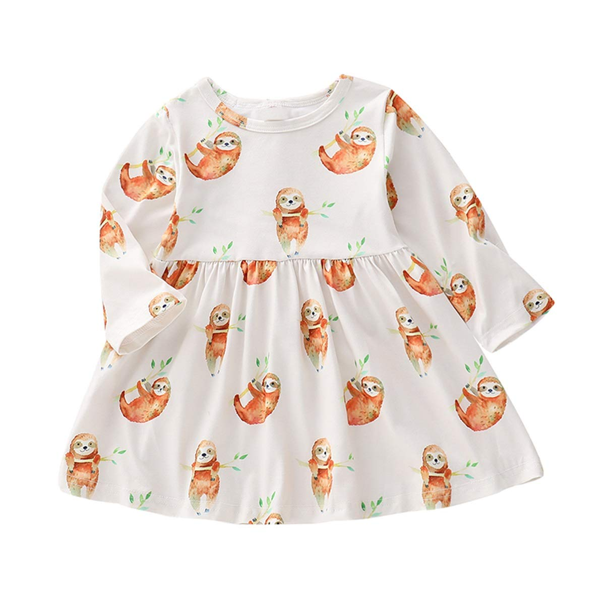 0-24M Baby Infant Girls Animal Sloth Print Swing Dresses Casual Outfits