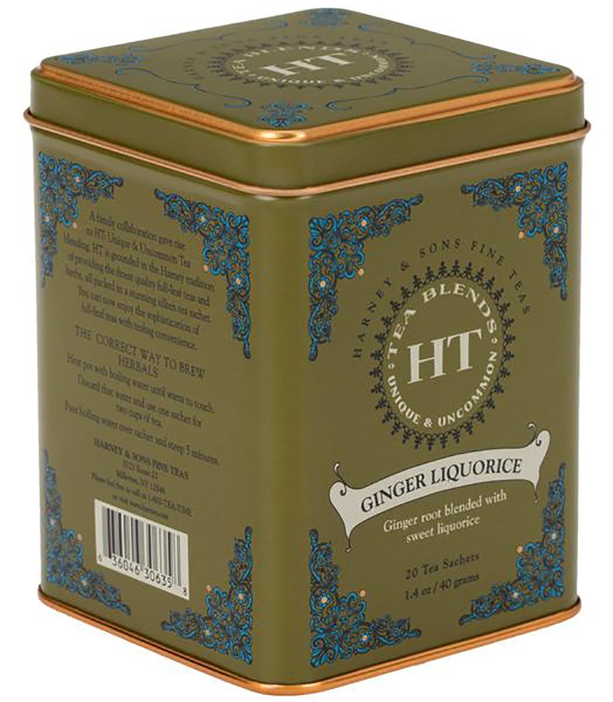 Harney & Sons Caffeine-Free Herbal Ginger Liquorice Tea Tin 20 Sachets
