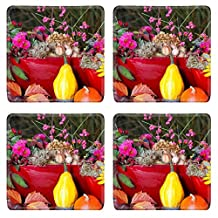 Luxlady Natural Rubber Square Coasters IMAGE ID: 25918102 Autumn decoration on garden table