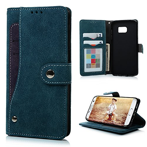 Galaxy S7 Edge Wallet Case, Badalink Premium Suede Leather Fancy Flip Case for Galaxy S7 Edge, Extra Card Holder Design Galaxy S7 Edge Folio Cover, Soft TPU Inner | Snap Closure | Photo Window - Blue