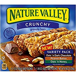 Nature Valley Crunchy Granola Bars - (5 Boxes) NEW Variety Pack - Oats \'N Dark Chocolate, Peanut Butter and Oats \'N Honey