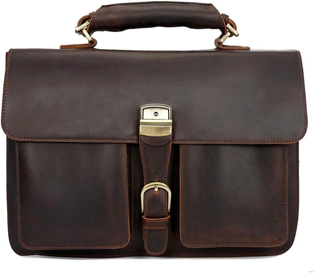 HWX Retro Mens Handbag Briefcase Leather Shoulder Slung Business Bag,Brown,40cm3014cm