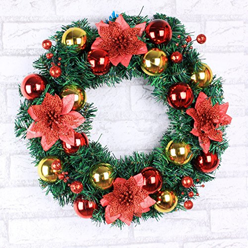 Christmas Garland for Stairs fireplaces Christmas Garland Decoration Xmas Festive Wreath Garland with Christmas wreath,golden wreath,45cm gold by Caribou Furniture And Decor