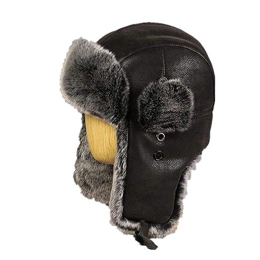 d7c9cd47b7a0d Winter Bomber Hats Vintage Russian Caps Men Faux Fur Trapper Hat PU Leather  Wind Proof Trooper Hats at Amazon Men s Clothing store