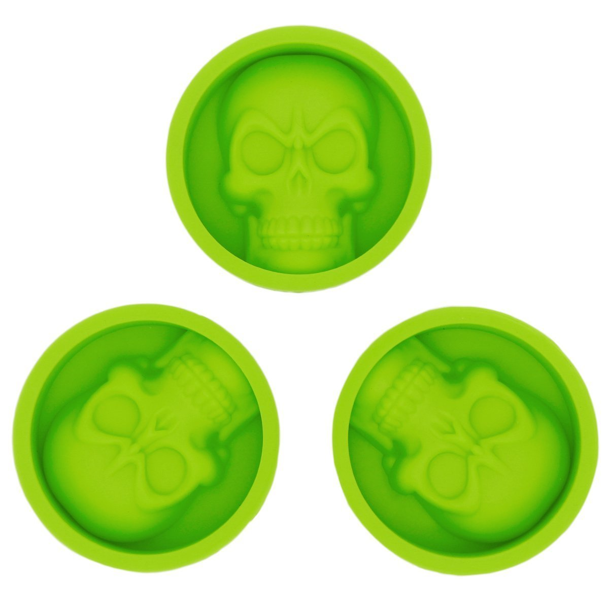 KAILIN 3 Pcs Reusable Silicone Skull Baking Cups -Cupcake Liners -Muffin Cups Chocolate Soap Candle Tray Cake Mold For Party KL201
