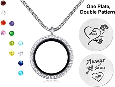 Engravery Family Tree Love with Floating Birthstones-Color Crystal Locket Pendant Necklace