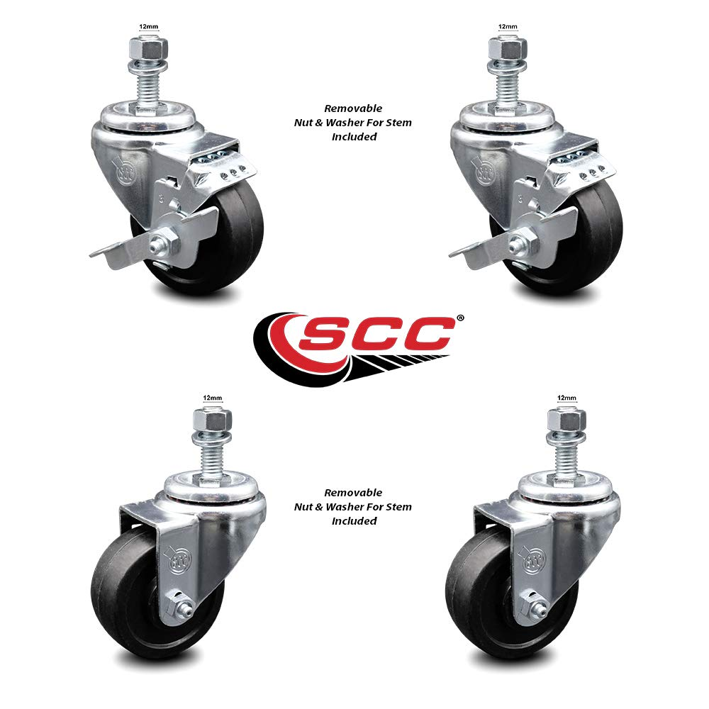 800 lbs Total Capacity Service Caster Brand Soft Rubber Swivel Threaded Stem Caster Set of 4 w//3.5 x 1.25 Black Wheels and 12MM Metric Stems Includes 2 with Top Locking Brake