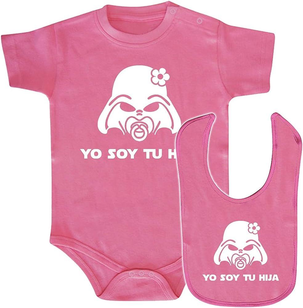 ClickInk Pack Body bebé y babero Yo soy tu hija. Parodia Yo soy tu padre. Regalo original. Body friki. Babero friki.