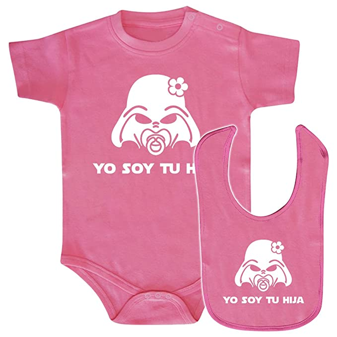 Pack Body bebé y babero Yo soy tu hija (Star wars/Darth Vader - Yo soy tu padre - parodia). Regalo original. Body friki. Babero friki.