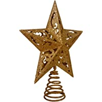 kurt adler 8 inch gold glittered 5 point star treetop