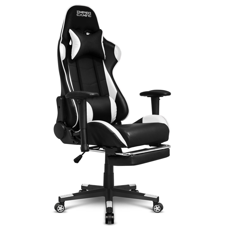 Empire Gaming – Stuhl Gamer Racing 800 Serie Schwarz Weiß – Fußstütze und ultrabequeme Rennsportform – Verstellbare 2D-Armlehnen – einschließlich Lenden- und Nackenkissen.