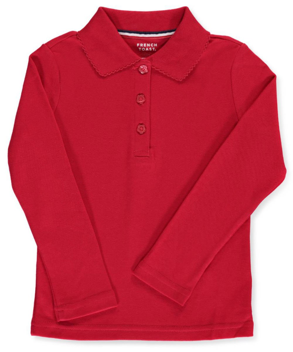 French Toast Big Girls' L/S Fitted Knit Polo With Picot Collar