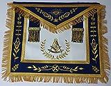 Masonic Apron-Past Master Apron Royal Blue Gold Embroidered with Fringe