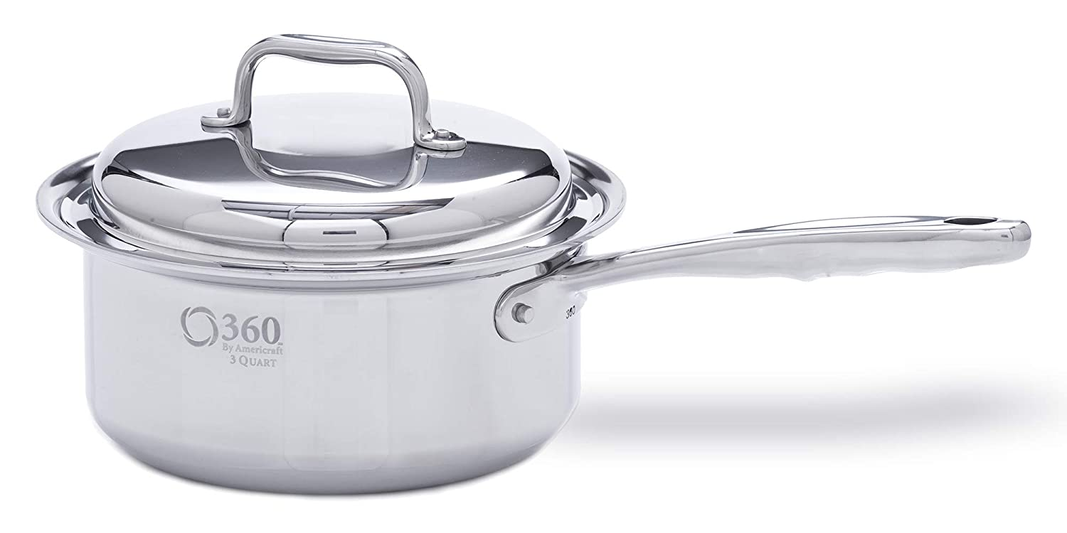 360 Stainless Steel Cookware 3 Quart Saucepan with Lid. American Made, Induction Cookware, Waterless Cookware, Dishwasher Safe, Oven Safe, Professional Grade