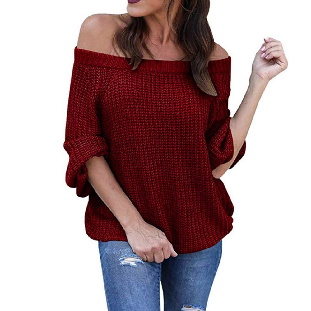 Franterd Women Sexy Off Shoulder Knitted Sweater Loose Warm Long Latern Sleeve Jumper Baggy Pullover Top Blouse by Franterd (Image #3)