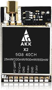 AKK X2M 5.8Ghz 0.01mW/25mW/200mW/500mW/800mW Switchable FPV Transmitter with MMCX Compatible with Betaflight OSD Flight Control Board
