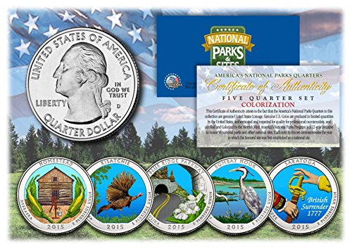 (2015 America The Beautiful COLORIZED Quarters U.S. Parks 5-Coin Set w/Capsules)
