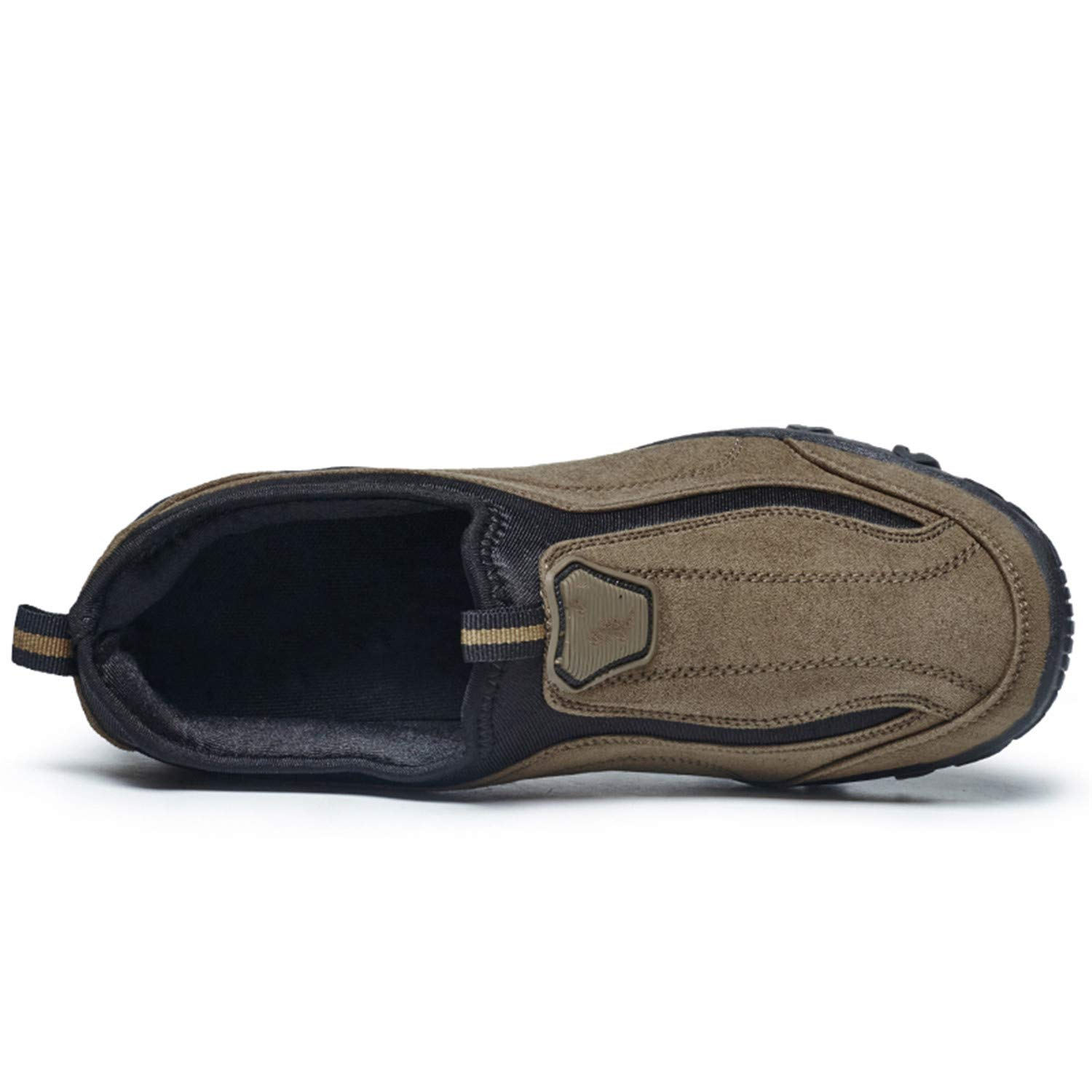 Sonjer Suede Leather Mens Shoes Casual Outdoor Slip On Oxfords Durable Trek Shoes for Men Walking Shoes