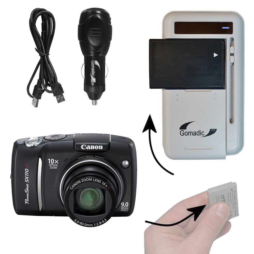 Amazon.com : Gomadic Portable External Battery Charging Kit suitable for  the Canon PowerShot SX110 IS Includes Wall, Car and USB Charge Options :  Digital ...