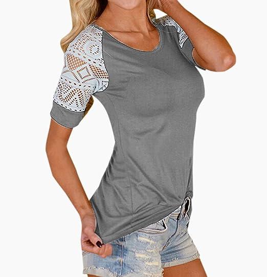 Mujeres Verano Casual Cuello Redondo Manga Corta Camisetas Tops Blusas Moda Encaje Costura Blouses T-