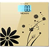 Triomph Digital Bathroom Weight Scale, 330lb Capacity, Automatic Step On, LCD Backlight Display, 6mm Tempered Glass (Golden)