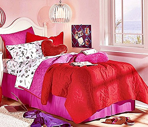 Girls Fashion Diva 8pc Full Size Reversible Red/Lipstick Pink Embroidered Hearts Quilt & Sheet Set (Fashionista Comforter Set)