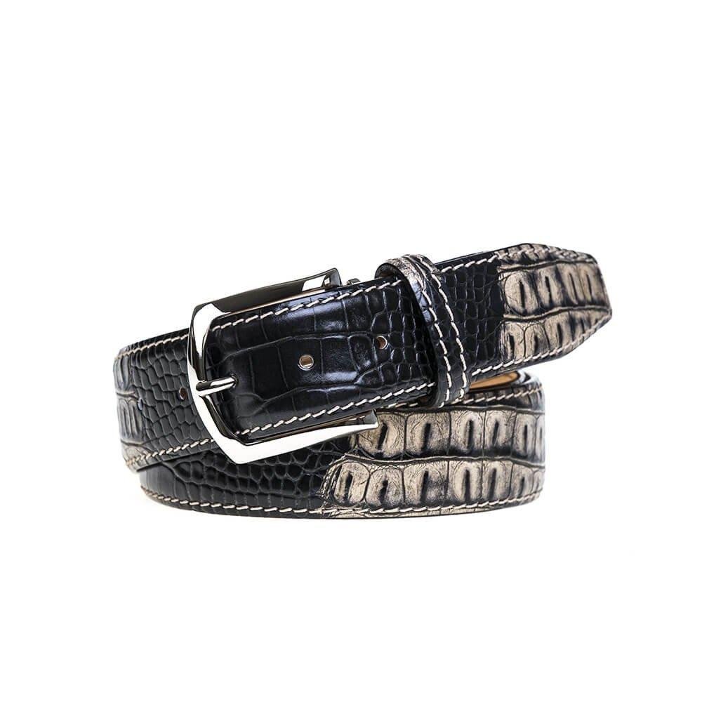 Ecru Vintage Twice Mock Croc Belt