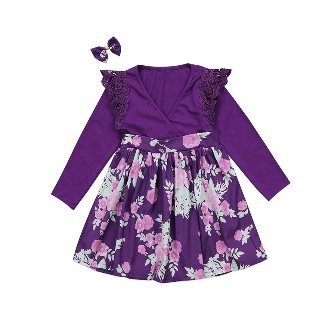 6beacf7531bd98 Amazon.com: GSHOOTS Baby Girls' Little Sister Romper Big Sister Dress  Family Matching Outfit Lace Sleeve Bodysuit Floral Skirt: Clothing
