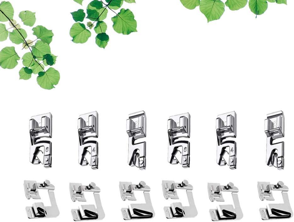 12 St/ücke S/äumen Fu/ß Kit S/äumer Fu/ß N/ähmaschine F/ü/ße f/ür Bruder S/änger Janome Low Shank N/ähmaschine Verwenden Rollsaum N/ähfu/ß Artibetter 2 Satz