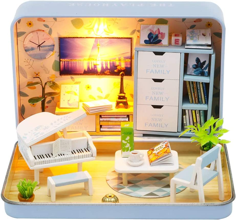 Spilay DIY Miniature Dollhouse Wooden Furniture Kit,Handmade Mini Iron Box Theater Model,1:24 Scale Creative Doll House Toys for Lovers (Happiness Theater)