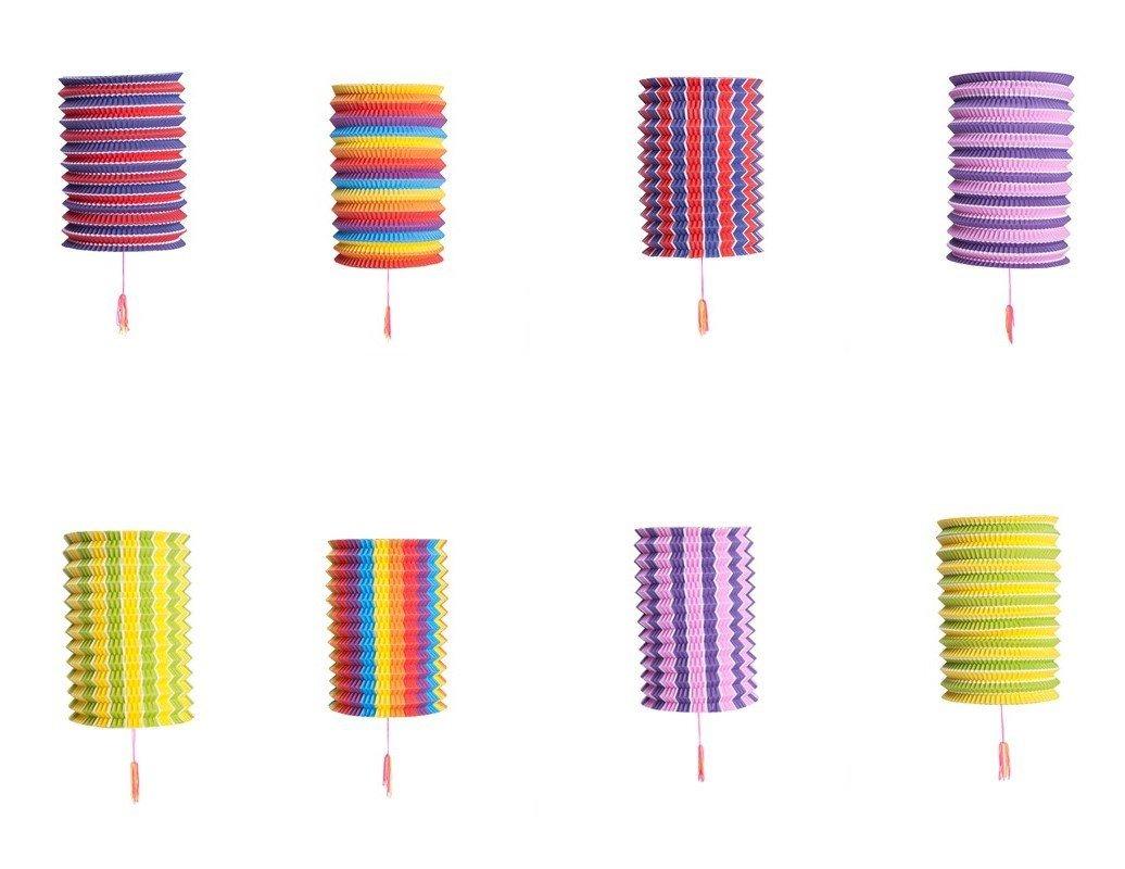 Set Of 8 Rainbow Colorful Cool Festival Party Celebration Home Decor Lanterns