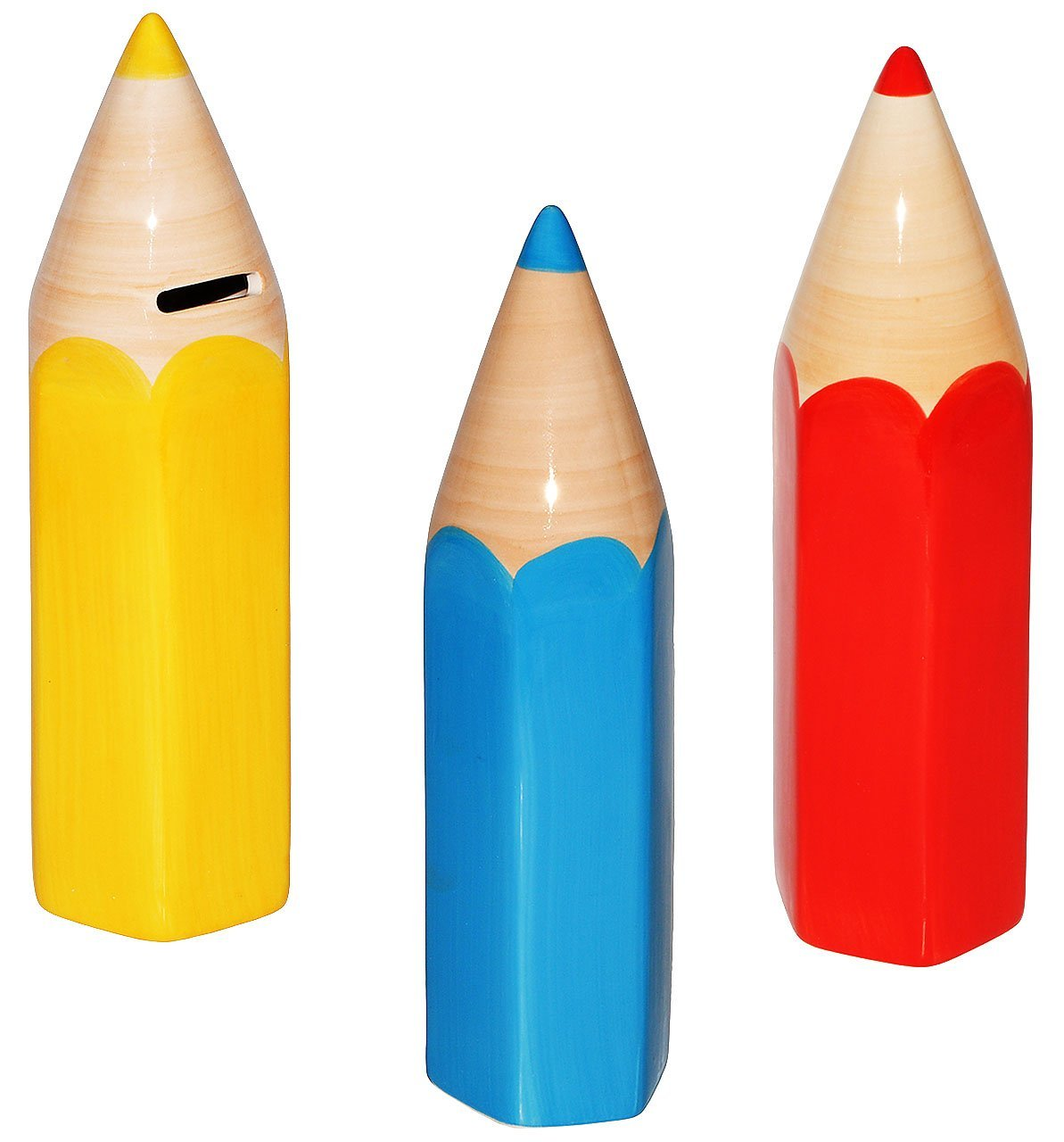 Unbekannt groß e Spardose - bunter Stift - 25 cm - BLAU / GELB - stabile Sparbü chse aus Porzellan / Keramik - Sparschwein - lustig witzig - Schulanfang - Schule Stifte -.. Kinder-land